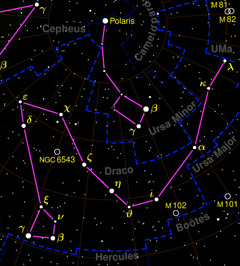 A depiction of the constellation Draco, in relation to other nearby constellations.