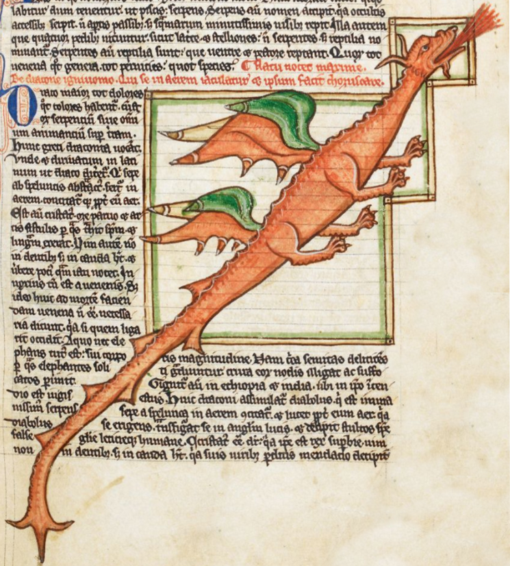 This medieval manuscript shows a dragon. Game of Thrones was inspired by a pseudo-medieval setting and features dragons.