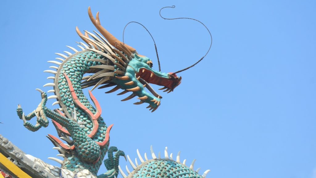 An ornamental statue showing a typical dragon design from Southeast Asia.