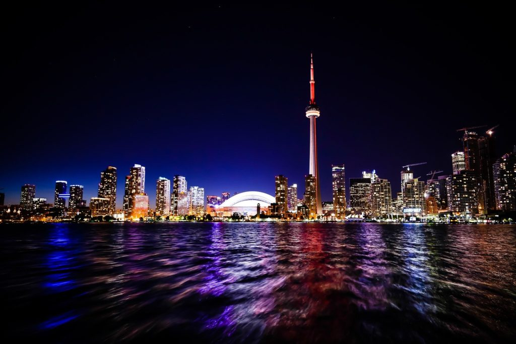 The skyline of Toronto, Ontario, featuring the CN Tower, from Lake Ontario.