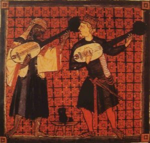 Art from medieval Spain shows two musicians, one Black and one white, playing together.