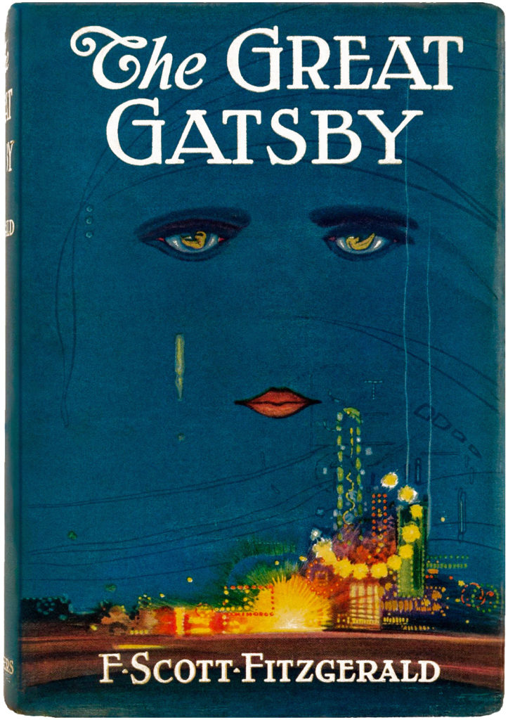 The iconic 1925 first edition cover of The Great Gatsby, with a pair of disembodied eyes and lips over a neon, futuristic city.